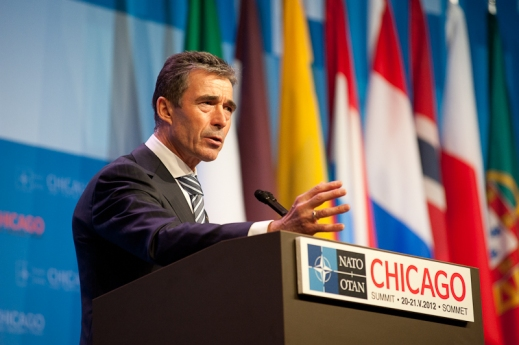NATO Secretary General Rasmussen speaks at the 2012 NATO Summit in Chicago.